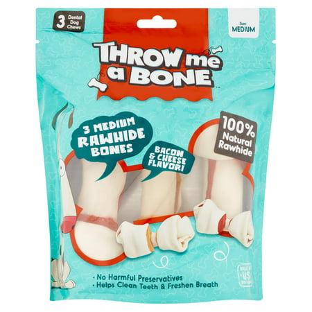 Throw Me A Bone Bacon And Cheese Flavor 3 Medium Rawhide Bones