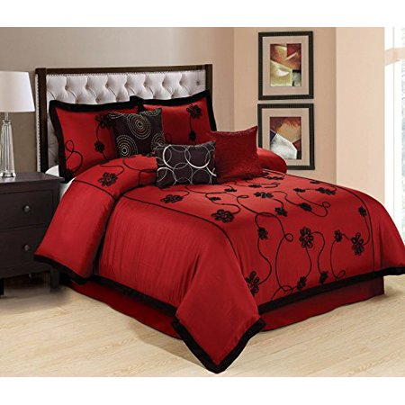 7 piece olivia ruffled floral embroidered clearance bedding comforter set fade resistant. Black Bedroom Furniture Sets. Home Design Ideas