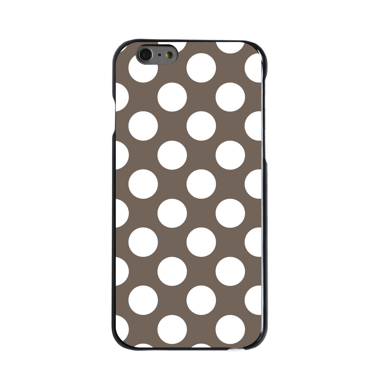 "CUSTOM Black Hard Plastic Snap-On Case for Apple iPhone 6 / 6S (4.7"" Screen) - White & Taupe Polka Dots"