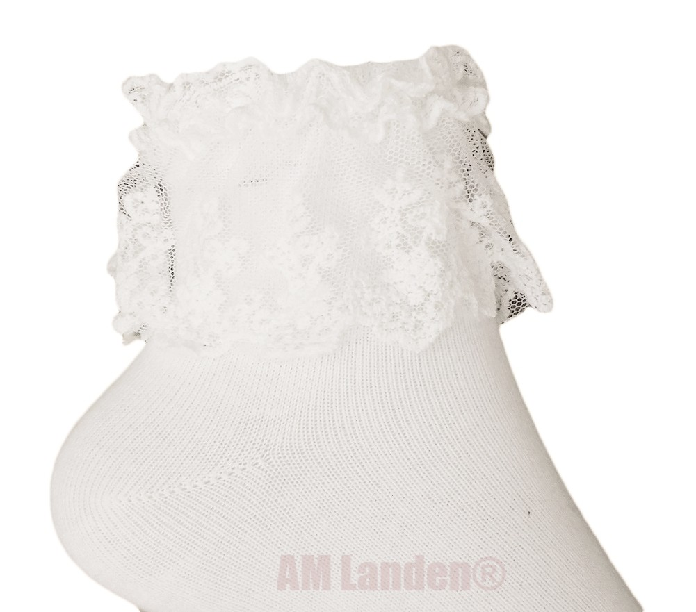 644af76ae AM Landen - AM Landen Women s White Lace Ruffle Frilly Cotton Socks  Princess Socks Ankle Socks - Walmart.com