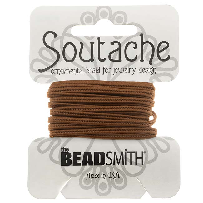 BeadSmith Soutache Braided Cord 3mm Wide - Light Brown (3 Yard Card)
