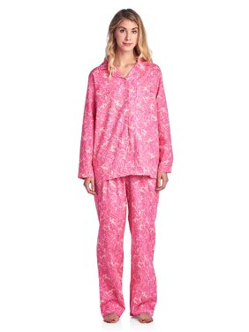 ee13b3fb71 Product Image Casual Nights Women s Flannel Long Sleeve Button Down Pajama  Set
