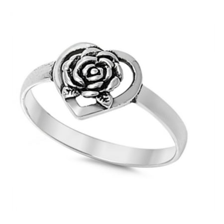 925 Sterling Silver Heart Shaped With Rose Ring