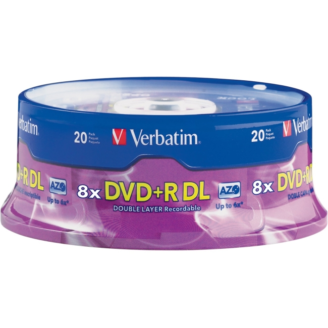 Verbatim DVD+R DL 8.5GB 2.4x Branded Spindle, 20pk