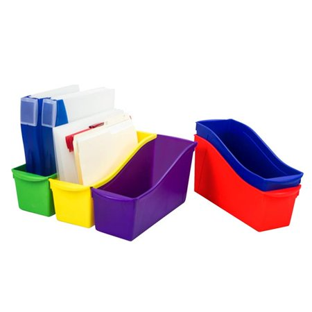 Storex Interlocking Large Book Bins, Assorted Colors, Set of 5