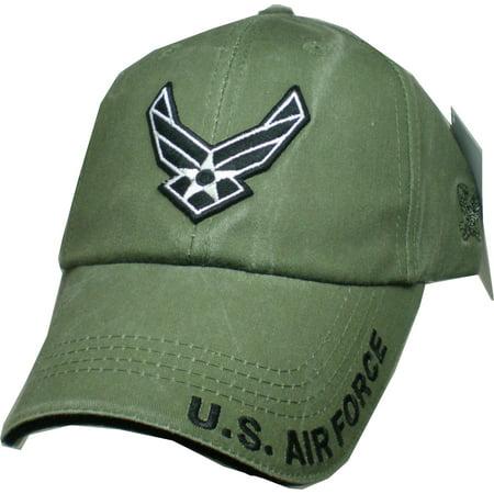 U.S. Air Force Wings Logo Tonal Washed Mens Cap [Olive Drab Green - Adjustable]
