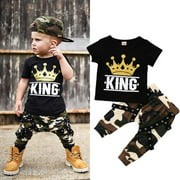 Newborn Kids Baby Boys Tops T-shirt Camo Pants Boys 2PCS Outfits Set Clothes 0-5Years