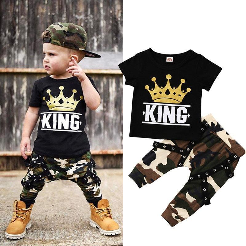 Newborn Kids Baby Boys Tops T-shirt Camo Pants Boys 2PCS Outfits Set Clothes 0-5Years