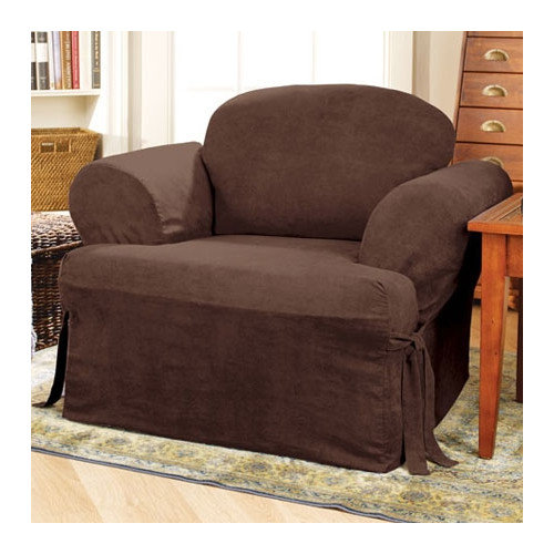 Sure-Fit Soft Suede Armchair T-Cushion Slipcover