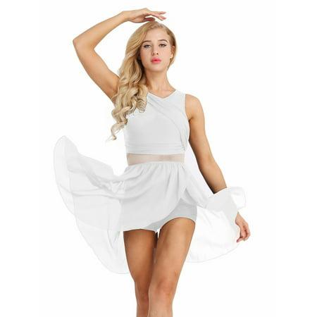Women Mesh Splice Asymmetric Ballet Dance Chiffon Dress Costume Leotard Leotard Dance Costume