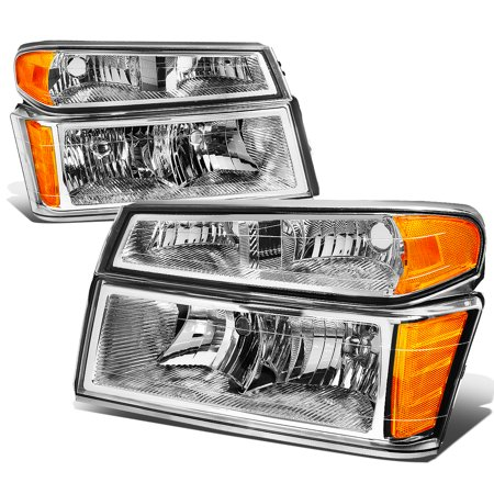 For 2004 to 2012 Chevy Colorado / GMC Canyon / Isuzu i280 i290 i350 4Pcs Headlight + Bumper Lamp Chrome Housing Amber Corner 05 06 07 08 09 10 (06 Chevy Colorado Truck)