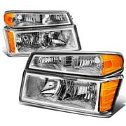 For 2004 to 2012 Chevy Colorado / GMC Canyon / Isuzu i280 i290 i350 4Pcs Headlight + Bumper Lamp Chrome Housing Amber Corner 05 06 07 08 09 10 11
