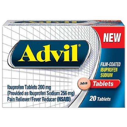 Advil Film-Coated Ibuprofen 200 mg Tablets 20 ea (Pack of 4)