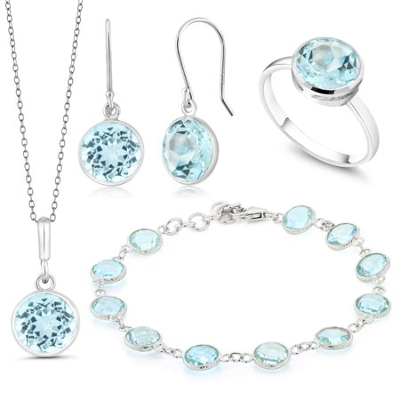 Beautiful 37.5ctw 4 Piece Blue Topaz Sterling Silver Jewelry (Beautiful Jewelry Set)