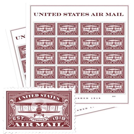 Red United States Airmail 2 Sheets of 20 Forever USPS First Class one Ounce Postage Stamps (40 Stamps) Wedding Celebration Stamp Collecting First Day Covers
