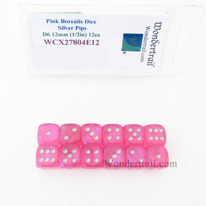 Pink Borealis Dice with Silver Pips 12mm (1/2in) D6 Set of 12 Wondertrail