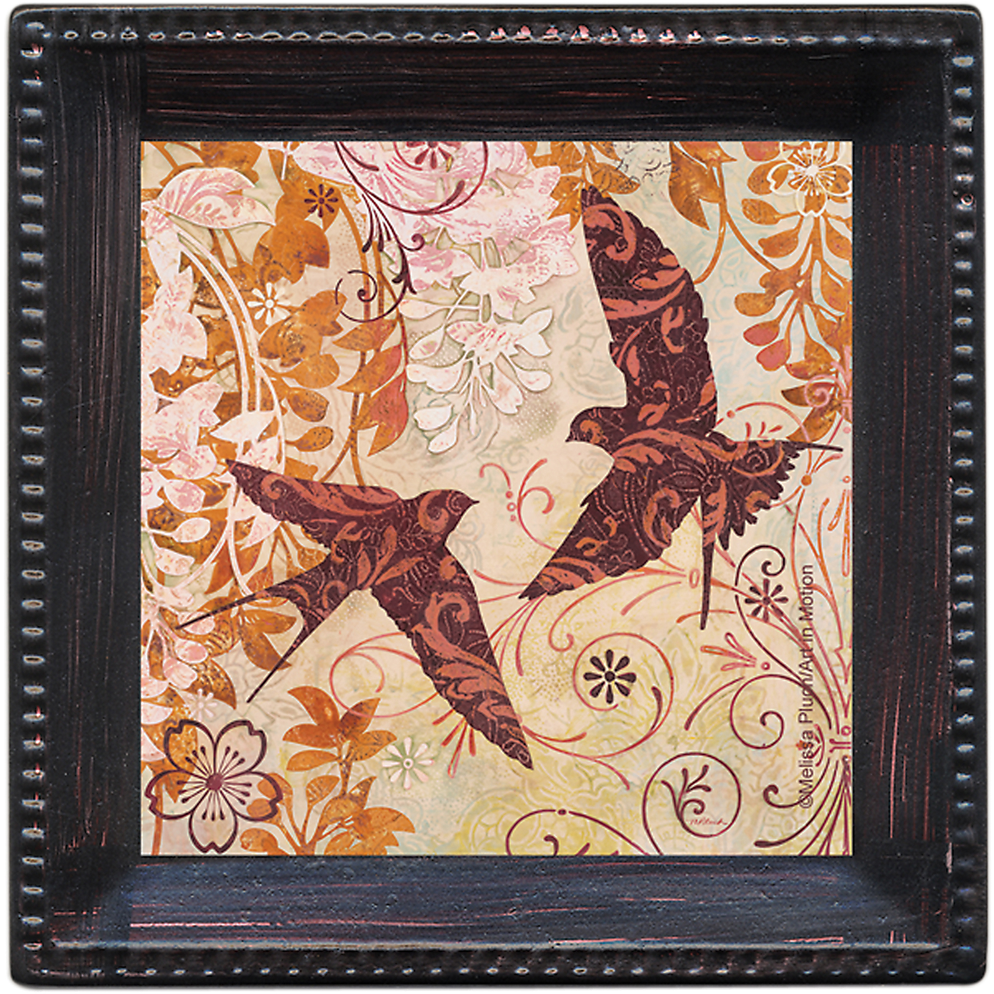 Thirstystone Ambiance Drink Coasters Set, Patterned Swallows, Bronze