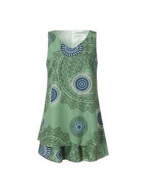 6e8bf26cd6f9b1 Product Image Womens Plus Size Print Midi Dress Loose Shift Sleeveless Tank  Vest Sun Dress