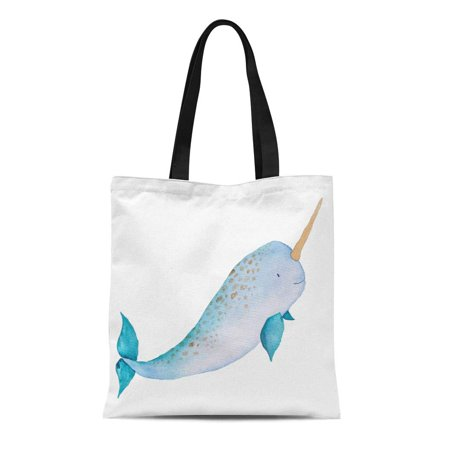HATIART Canvas Tote Bag Blue Narwhal Whale Sea Watercolor Hand Ocean Colorful Reusable Shoulder Grocery Shopping Bags Handbag - image 1 de 1