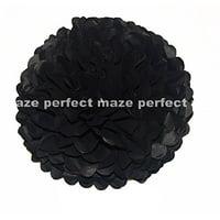 "Perfectmaze Tissue Paper Pom Pom Wedding/Baby Shower/Birthday Party/Nursery Decorations (6"" ,Black, 10 Pieces)"