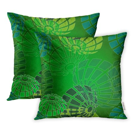 YWOTA Bright Fungus Pattern Flower Abstract Green and Blue Mushroom for Summer Winter Pillow Cases Cushion Cover 16x16 inch