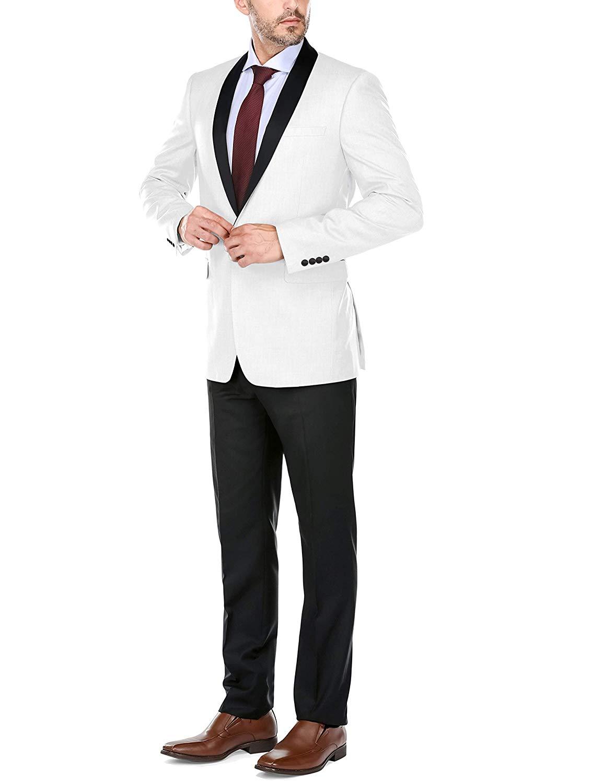 Wonder Stage Mens Slim Fit 4 Pc Black Tuxedo Suit Jacket Pants Cummerbund Bowtie