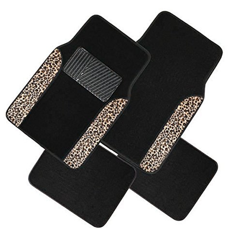 A Set of 4 Universal Fit Plush Carpet with Animal Print Floor Mats For Cars / Trucks (Brown Cheeta)