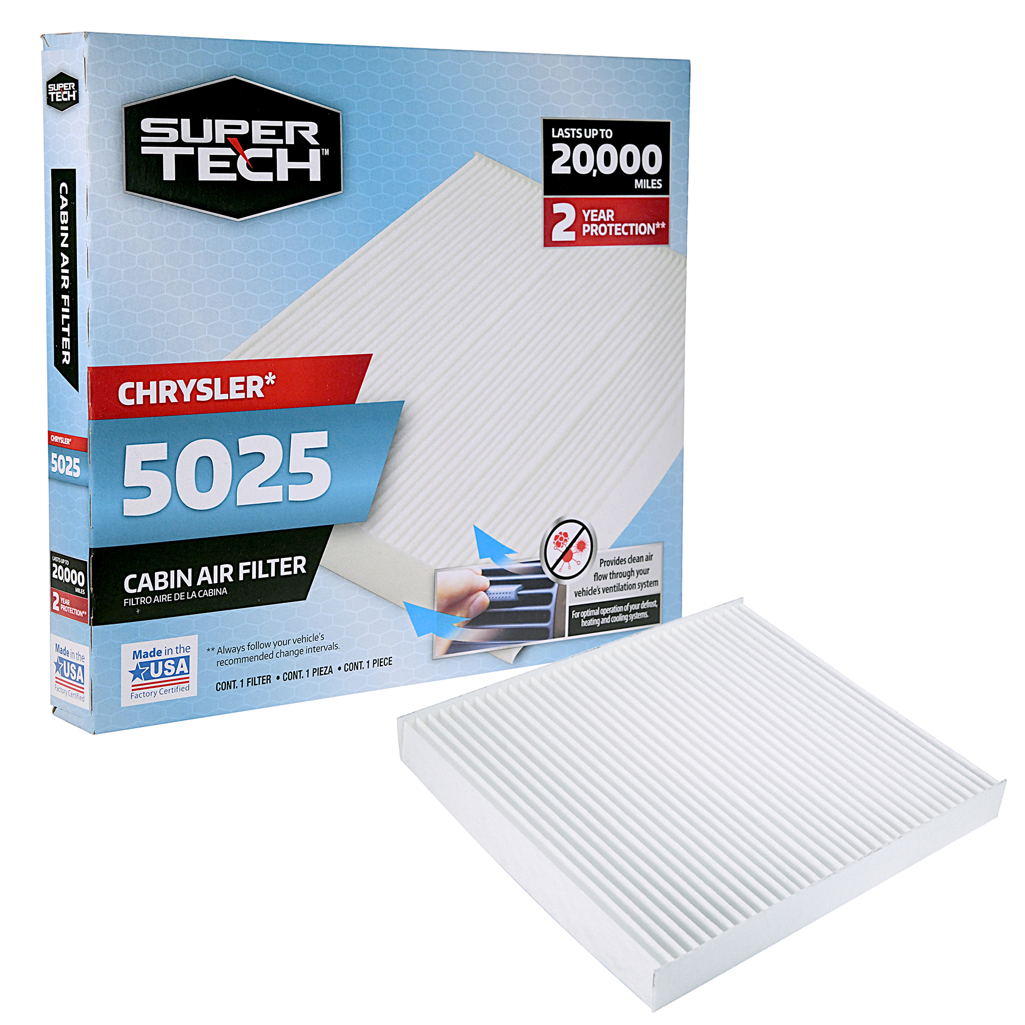 SuperTech Cabin Air Filter 5025, Replacement Air/Dust Filter for Chrysler