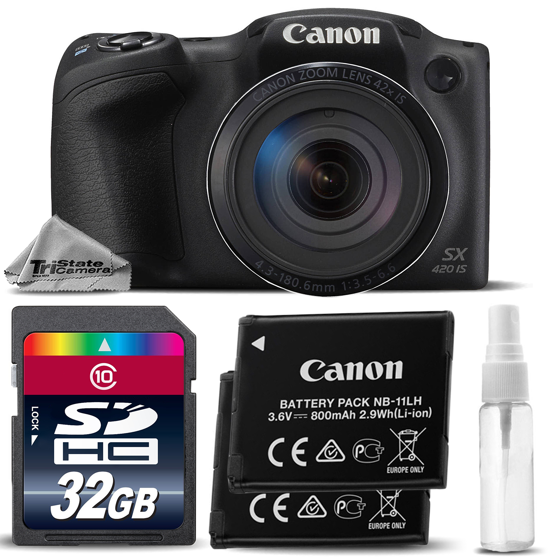 Canon PowerShot SX420 IS Digital Camera Black 42x Optical Zoom +EXT BAT-32GB KIT