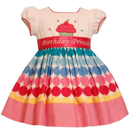 Bonnie Jean Birthday Cupcake  Party Bow Polka dot Pink Dress 18 (Bonnie Baby Large Dots Birthday Dress With Headband)