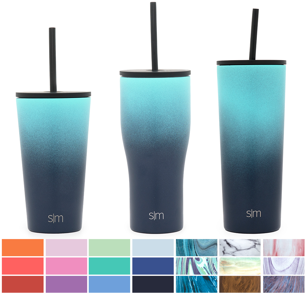 Simple Modern 24oz Pint Tumbler with Straw - Vacuum Insulated Travel Mug Flask 18/8 Stainless Steel Hydro Thermos Cup - Bermuda Deep