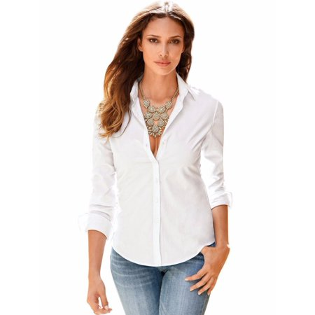 EFINNY Womens Solid OL Slim Fit Long Sleeve Blouse Button Down Shirt Top Casual (Bowler Button Down Shirt)