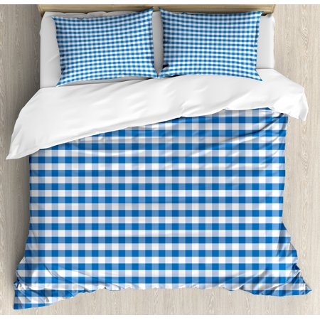 Checkered King Size Duvet Cover Set, Monochrome Gingham Checks Classical Country Culture Old Fashioned Grid Design, Decorative 3 Piece Bedding Set with 2 Pillow Shams, Blue White, by Ambesonne ()