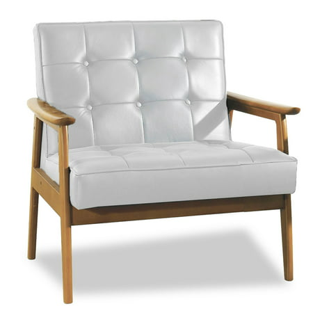 Stratham White Mid-Century Modern Club Chair