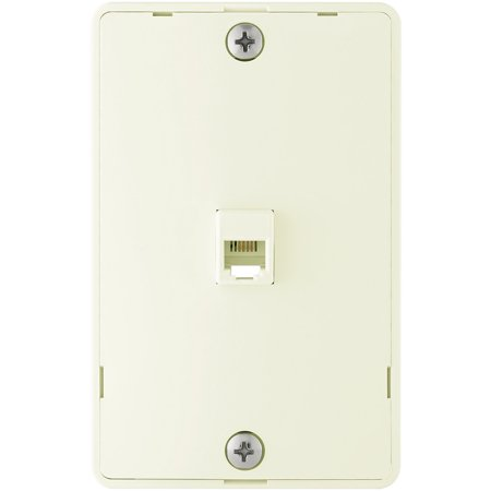 Cooper 3521-4A Almond Quick Mount Four Wire Telephone Jack and Wall Plate