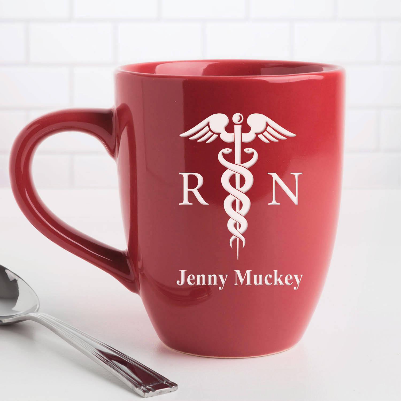 Personalized RN 14.5 oz Red Bistro Coffee Mug