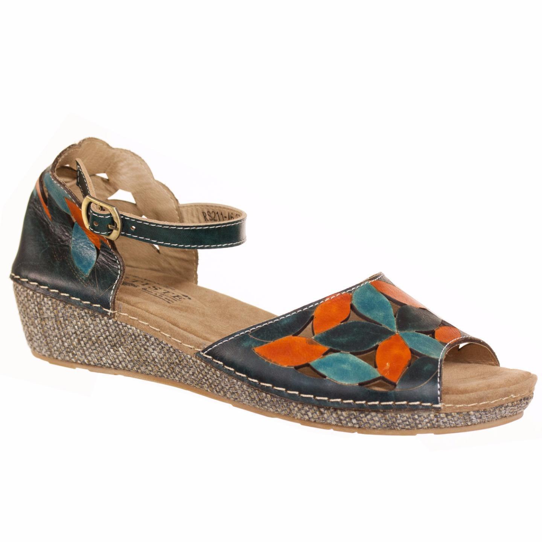 L'Artiste Collection By Spring Step Women's Apolline Sandal Teal Orange 37 US 7