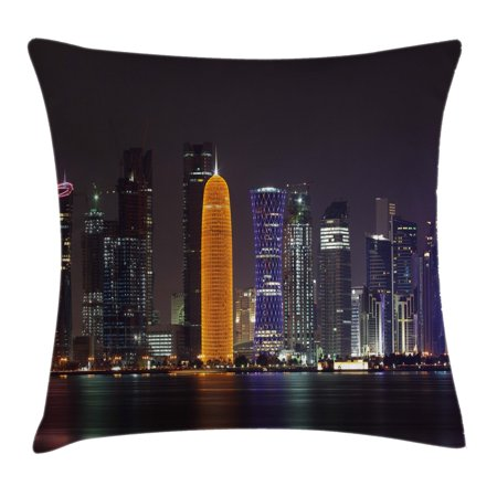 Urban Throw Pillow Cushion Cover, Qatar Middle East Town with Luminous Skyscraper at Night Arabic View, Decorative Square Accent Pillow Case, 18 X 18 Inches, Charcoal Grey Purple Orange, by (Town East Square)