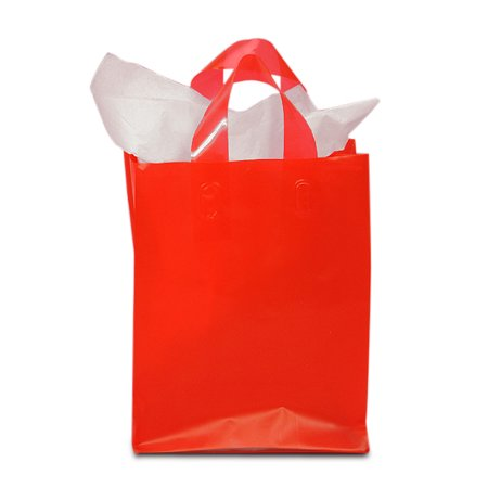 Red Frosted Plastic Bags with Handles | Quantity: 250 | Width: 8
