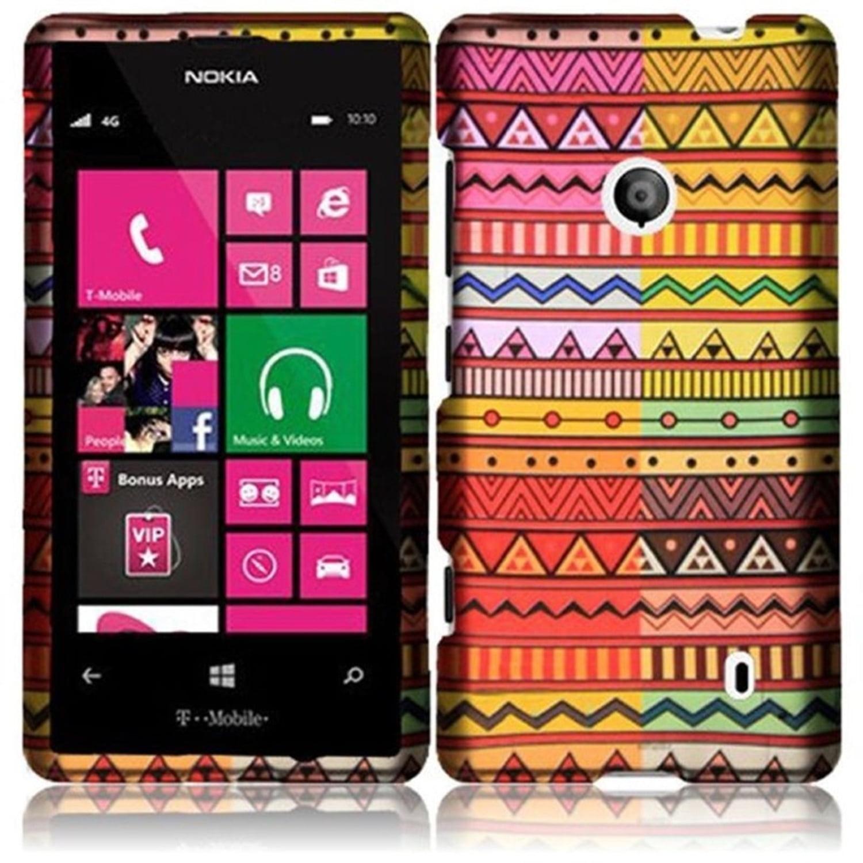 Insten For Nokia Lumia 521 Limited Quantity Rubberized Hard Design Cover Case - Geometric Aztec