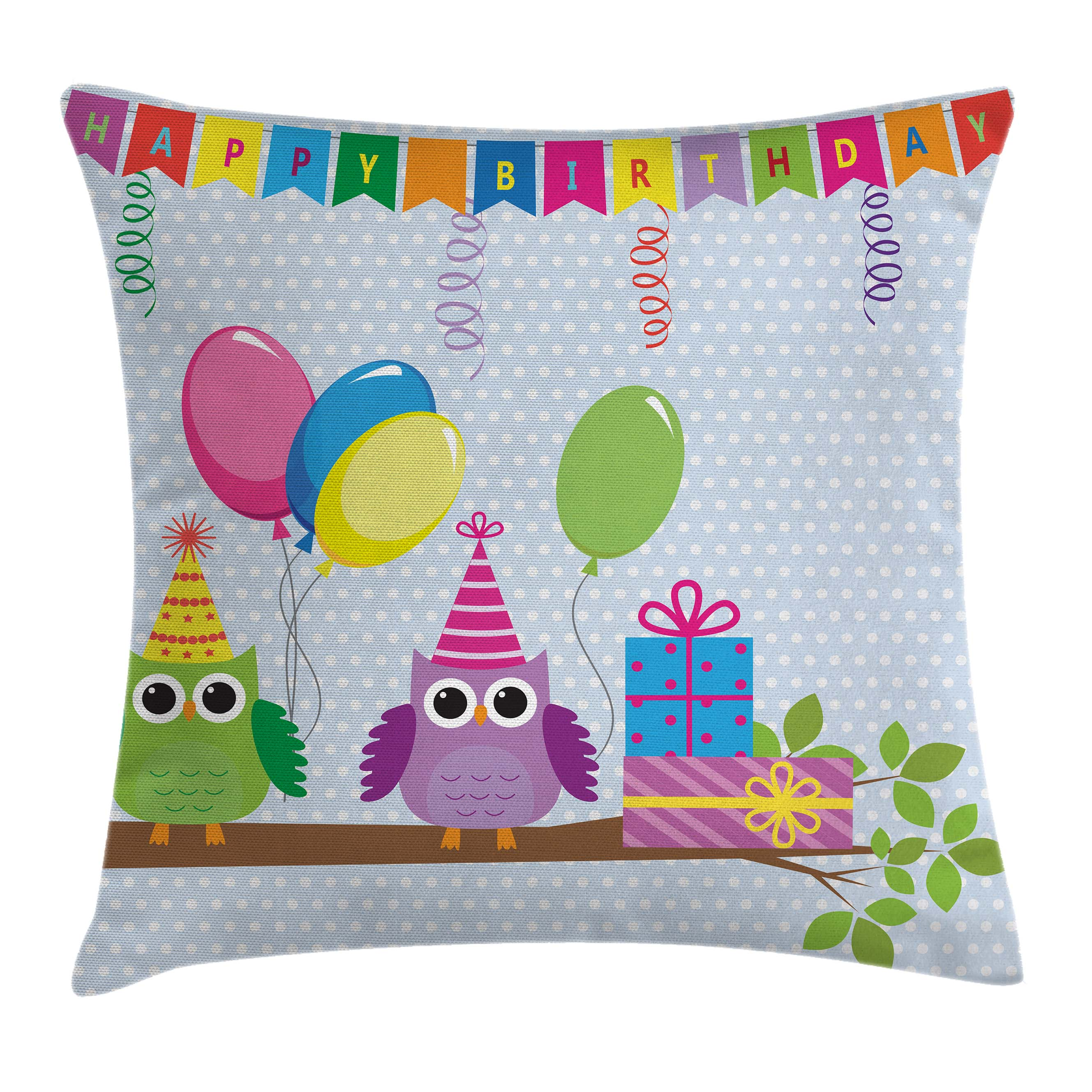 Birthday Decorations for Kids Throw Pillow Cushion Cover, Cartoon Owls at a Party with Flags Boxes Polka Dot Backdrop, Decorative Square Accent Pillow Case, 16 X 16 Inches, Baby Blue, by Ambesonne
