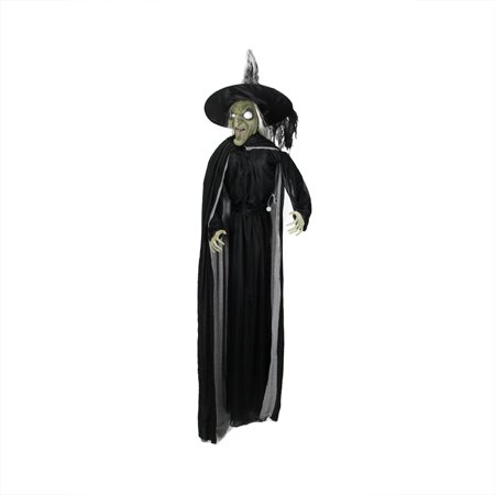 6' Battery Operated Lighted LED Scary Witch with Cape Halloween - Scary Halloween Pics To Color