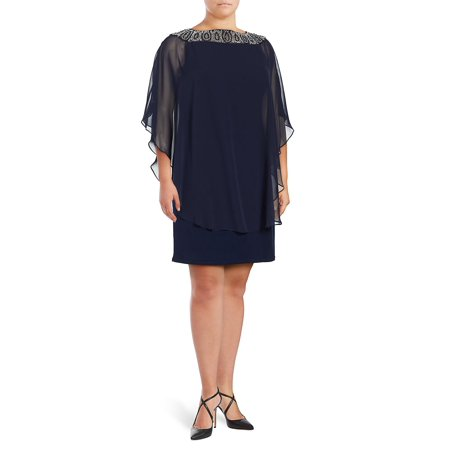 Plus Beaded Chiffon Capelet Shift Dress