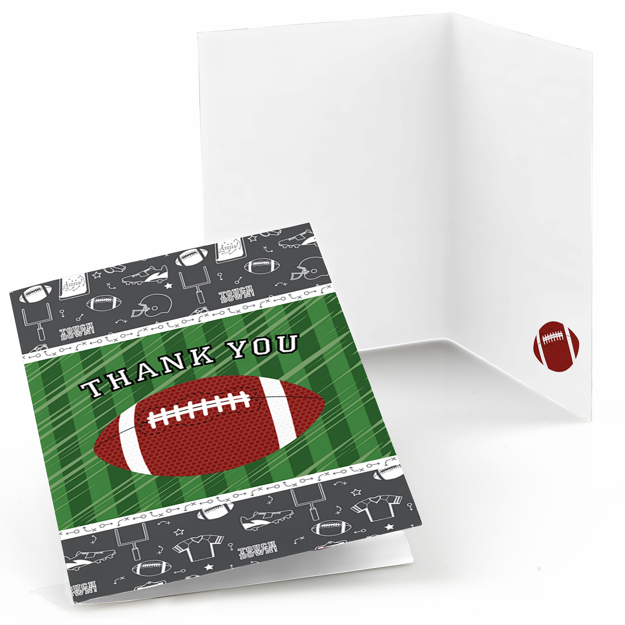 End Zone - Football - Baby Shower or Birthday Party Thank You Cards - Set of 24