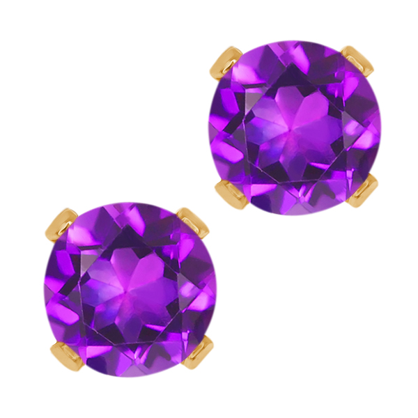 0.90 Ct Round Purple Amethyst 10K Yellow Gold 4-prong Stud Earrings 5mm