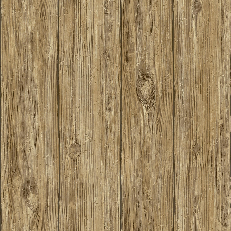 RoomMates Brown Mushroom Wood Peel & Stick Wallpaper