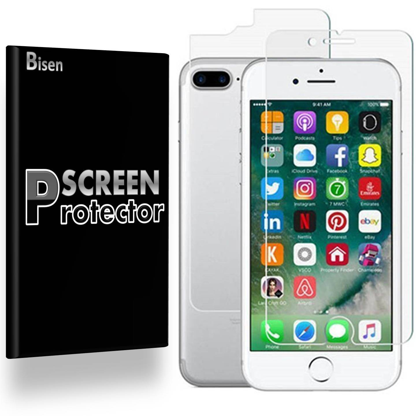 iPhone 8 Plus [BISEN] Tempered Glass FULL BODY [Front + Rear] Screen Protector, Anti-Scratch, Anti-Shock, Shatterproof, Bubble Free