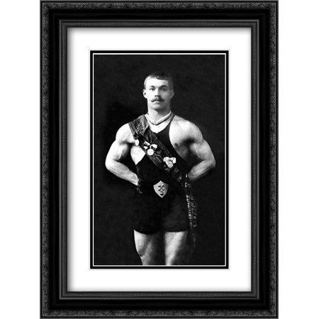 Bodybuilder in Sash 2x Matted 18x24 Black Ornate Framed Art Print by Vintage Muscle Men