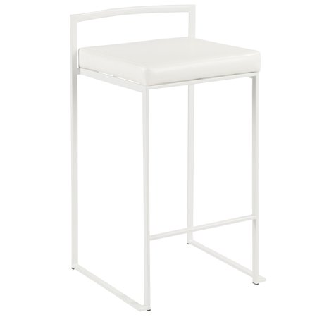 Fuji Contemporary Stackable Counter Stool in White with White Faux Leather Cushion by LumiSource - Set of