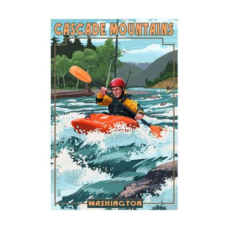 Cascade Mountains, Washington - Kayak Scene Print Wall Art By Lantern Press
